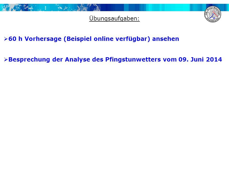 Übungsaufgaben:  60 h Vorhersage (Beispiel online verfügbar) ansehen  Besprechung der Analyse des Pfingstunwetters vom 09.