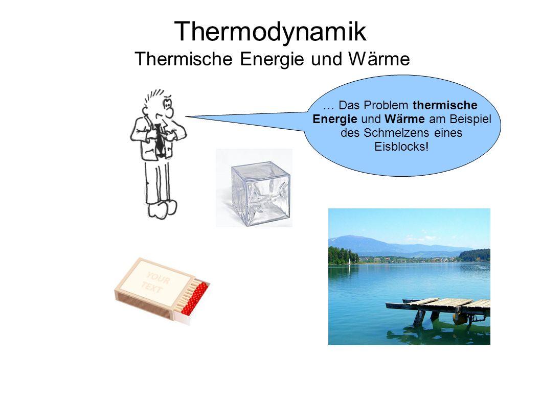 Thermodynamik Thermische Energie und Wärme … Das Problem thermische Energie und Wärme am Beispiel des Schmelzens eines Eisblocks!