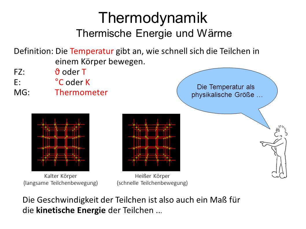 Definition: Die Temperatur gibt an, wie schnell sich die Teilchen in einem Körper bewegen. FZ: ϑ oder T E:°C oder K MG:Thermometer Thermodynamik Therm