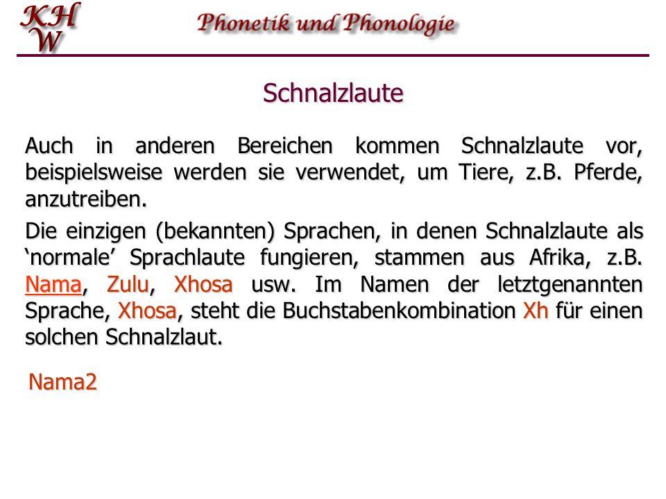 Schnalzlaute Die Lösung dieses Verschlusses gibt einen Laut, der hintereinander gereiht in manchen Sprachen, auch im Deutschen und im Englischen, Beda