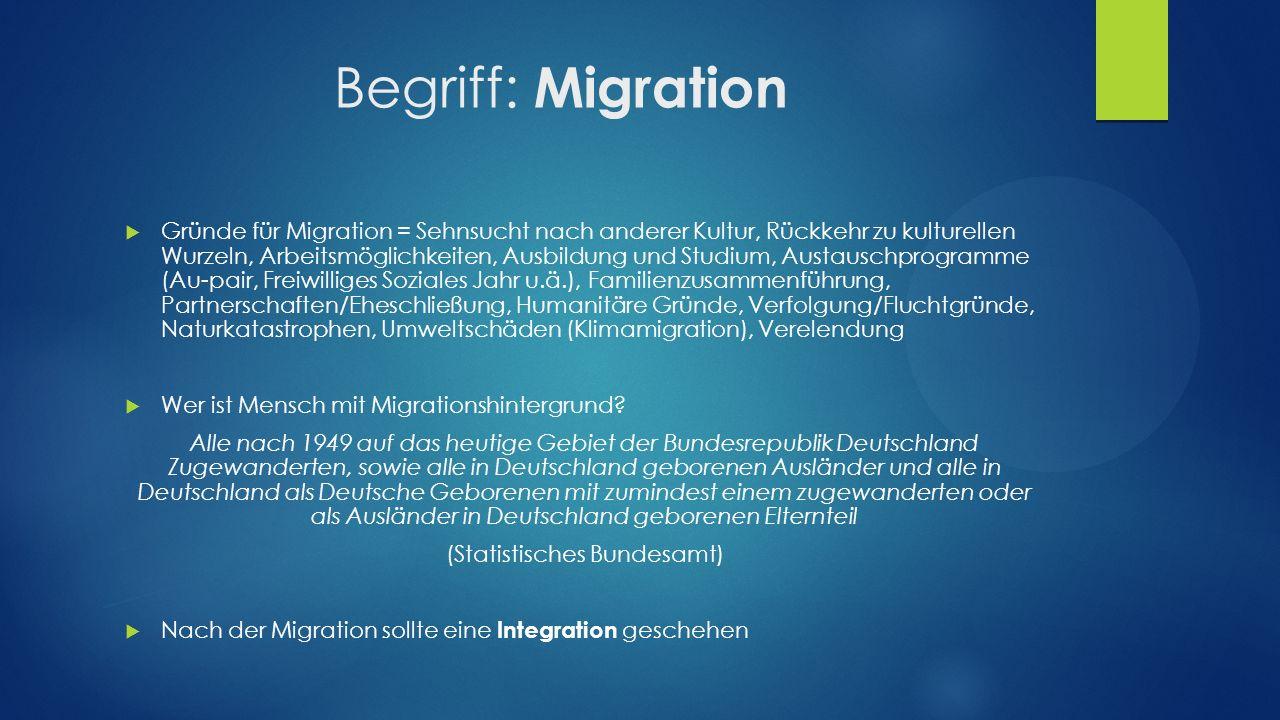 Begriff: Integration  Aus dem Lateinischen: integratio = 'Erneuerung'  Gegenbegriff hierzu ist die 'Desintegration' und 'Segregation'  Es entsteht eine Erneuerung der Gesellschaft/ neue Akteure werden in den Sozialraum integriert Integration ist ein langfristiger Prozess.