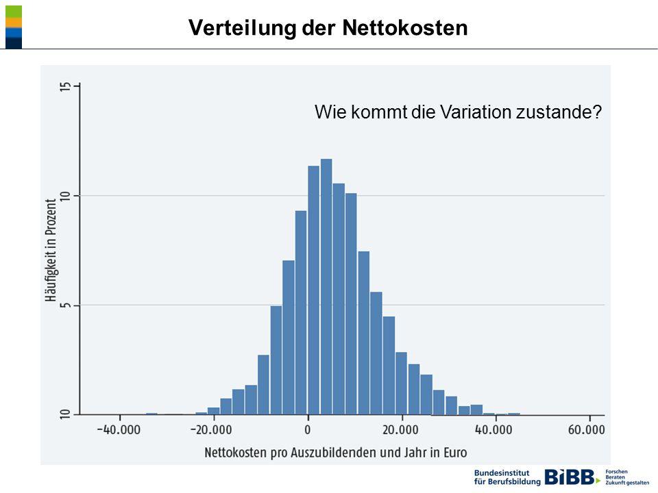 Verteilung der Nettokosten Wie kommt die Variation zustande?