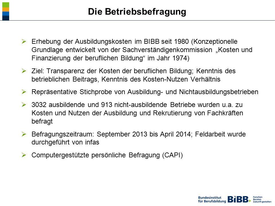 """ Erhebung der Ausbildungskosten im BIBB seit 1980 (Konzeptionelle Grundlage entwickelt von der Sachverständigenkommission """"Kosten und Finanzierung de"""