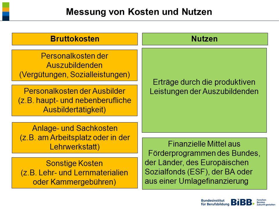 Messung von Kosten und Nutzen Bruttokosten Sonstige Kosten (z.B. Lehr- und Lernmaterialien oder Kammergebühren) Anlage- und Sachkosten (z.B. am Arbeit