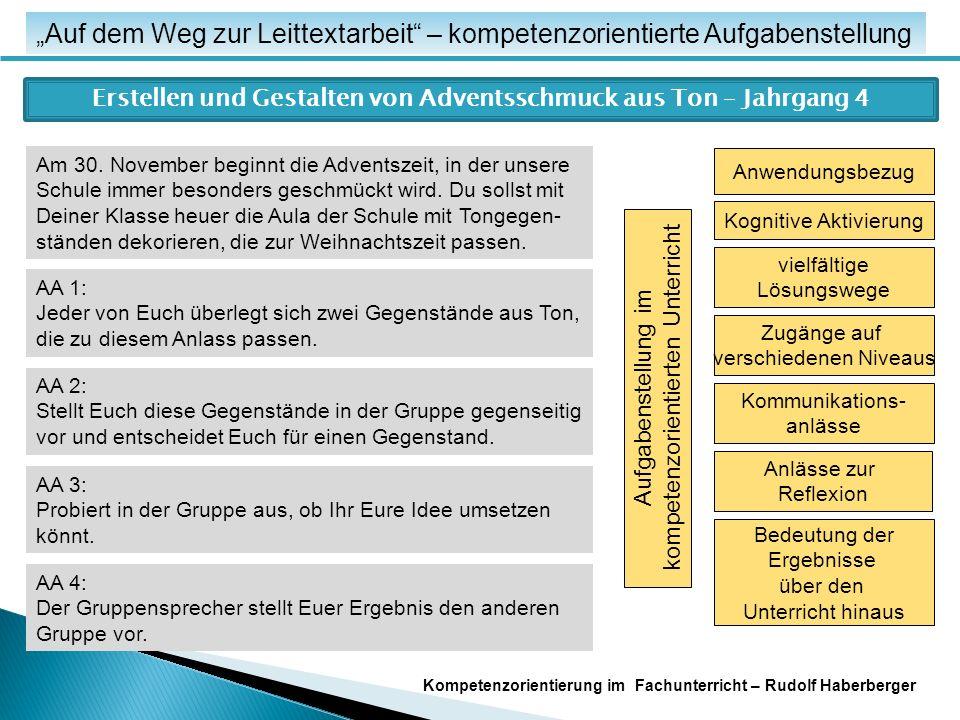 """""""Auf dem Weg zur Leittextarbeit – kompetenzorientierte Aufgabenstellung Erstellen und Gestalten von Adventsschmuck aus Ton – Jahrgang 4 Am 30."""