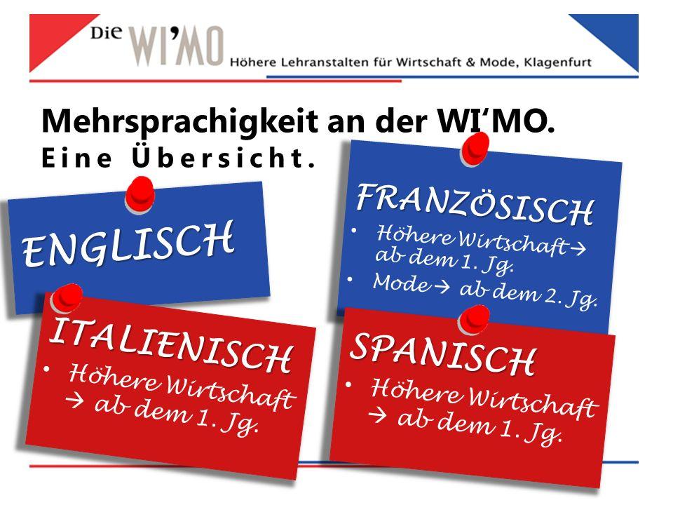 ENGLISCH Mehrsprachigkeit an der WI'MO.Eine Übersicht.