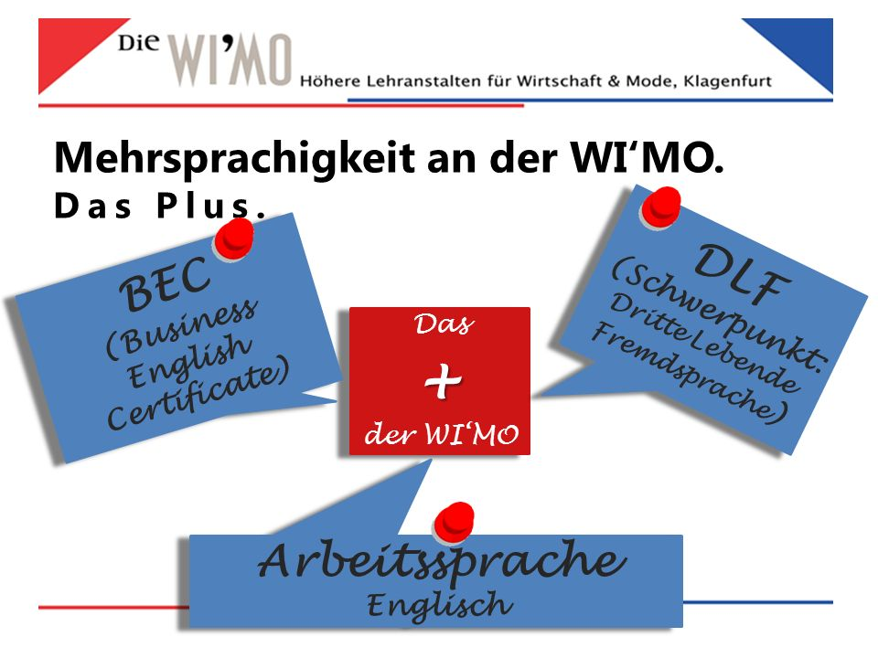 Mehrsprachigkeit an der WI'MO. Das Plus. Das+ der WI'MO Das+ der WI'MO BEC (Business English Certificate) BEC (Business English Certificate) DLF (Schw