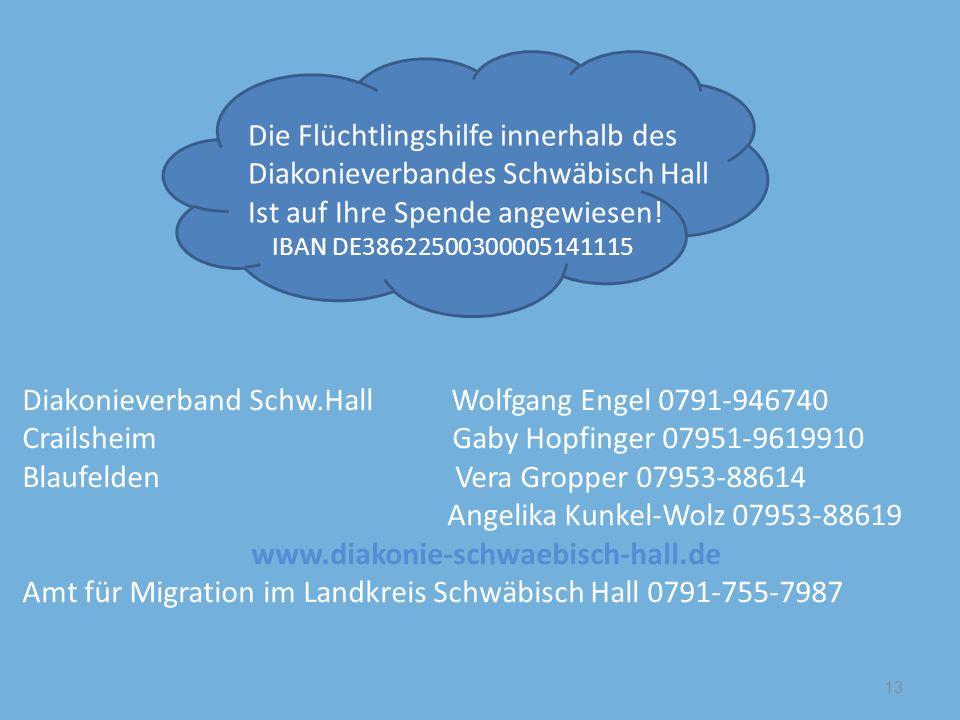 Die Flüchtlingshilfe innerhalb des Diakonieverbandes Schwäbisch Hall Ist auf Ihre Spende angewiesen! IBAN DE38622500300005141115 13 Diakonieverband Sc
