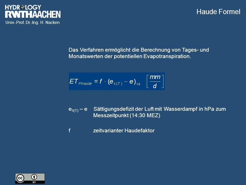 Univ.-Prof. Dr.-Ing. H. Nacken Das Verfahren ermöglicht die Berechnung von Tages- und Monatswerten der potentiellen Evapotranspiration. e S (T) – e Sä