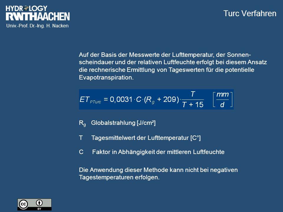 Univ.-Prof. Dr.-Ing. H. Nacken Auf der Basis der Messwerte der Lufttemperatur, der Sonnen- scheindauer und der relativen Luftfeuchte erfolgt bei diese
