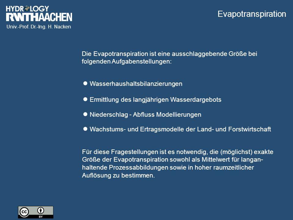 Univ.-Prof. Dr.-Ing. H. Nacken Die Evapotranspiration ist eine ausschlaggebende Größe bei folgenden Aufgabenstellungen: Wasserhaushaltsbilanzierungen