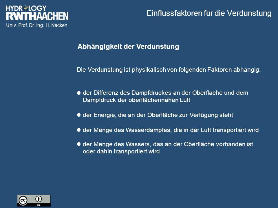 Univ.-Prof. Dr.-Ing. H. Nacken Abhängigkeit der Verdunstung Die Verdunstung ist physikalisch von folgenden Faktoren abhängig: der Differenz des Dampfd