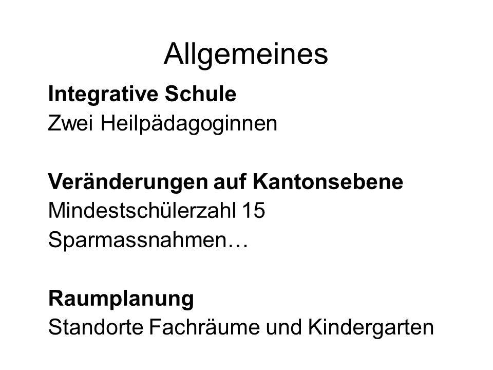 Allgemeines Integrative Schule Zwei Heilpädagoginnen Veränderungen auf Kantonsebene Mindestschülerzahl 15 Sparmassnahmen… Raumplanung Standorte Fachräume und Kindergarten