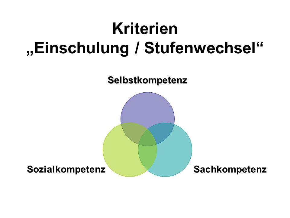 """Kriterien """"Einschulung / Stufenwechsel"""" Selbstkompetenz SozialkompetenzSachkompetenz"""