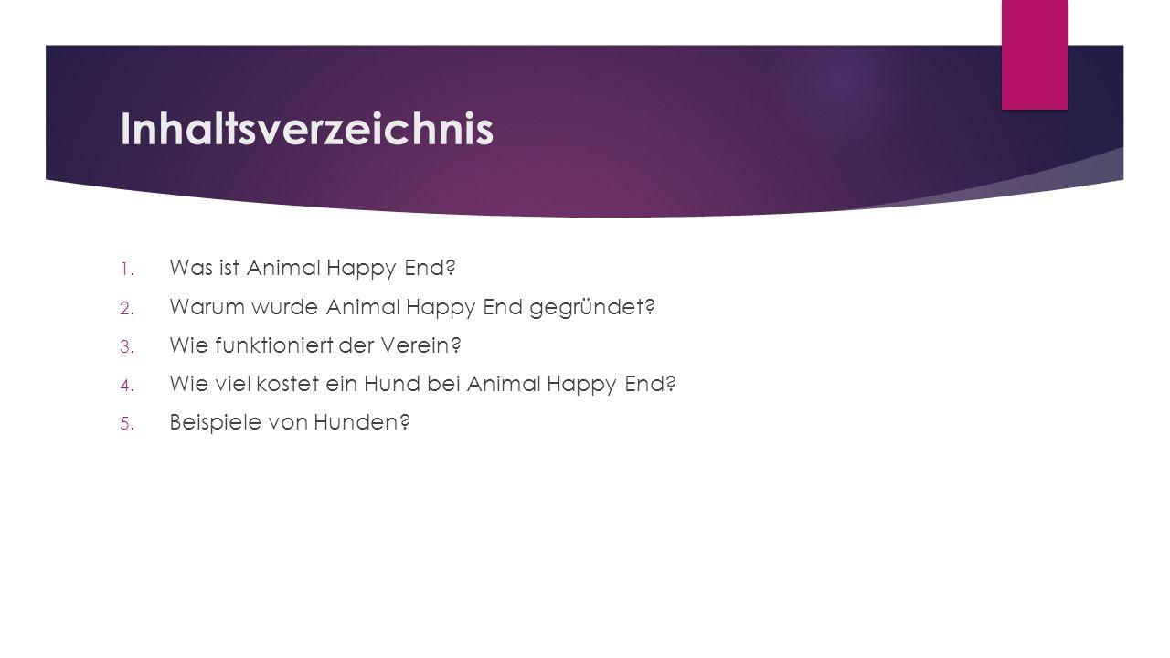 Inhaltsverzeichnis 1. Was ist Animal Happy End? 2. Warum wurde Animal Happy End gegründet? 3. Wie funktioniert der Verein? 4. Wie viel kostet ein Hund