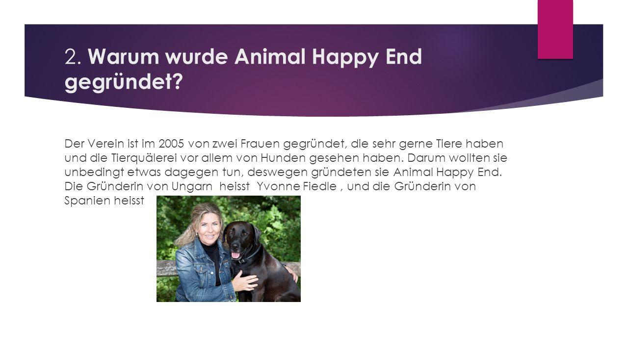 2. Warum wurde Animal Happy End gegründet? Der Verein ist im 2005 von zwei Frauen gegründet, die sehr gerne Tiere haben und die Tierquälerei vor allem