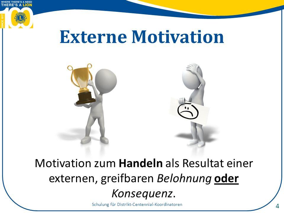 Interne Motivation Motivation zum Handeln infolge eines inneren Wunsches oder der Selbstzufriedenheit, die man sich von der Handlung erhofft.