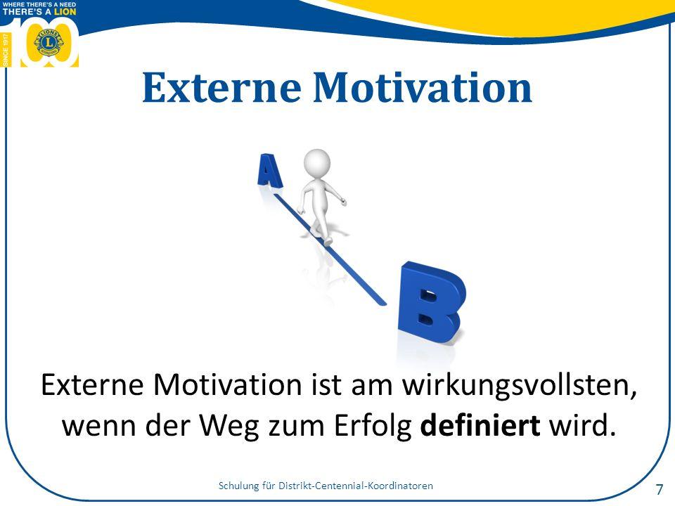 Interne Motivation Interne Motivation ist am effektivsten, wenn der Weg kritisches Denken und Problemlösung erfordert.