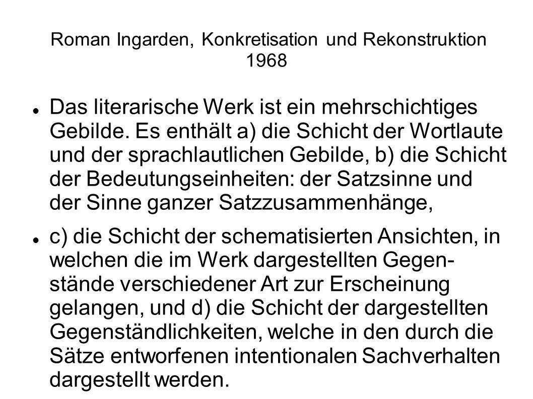 Roman Ingarden, Konkretisation und Rekonstruktion 1968 Das literarische Werk ist ein mehrschichtiges Gebilde. Es enthält a) die Schicht der Wortlaute
