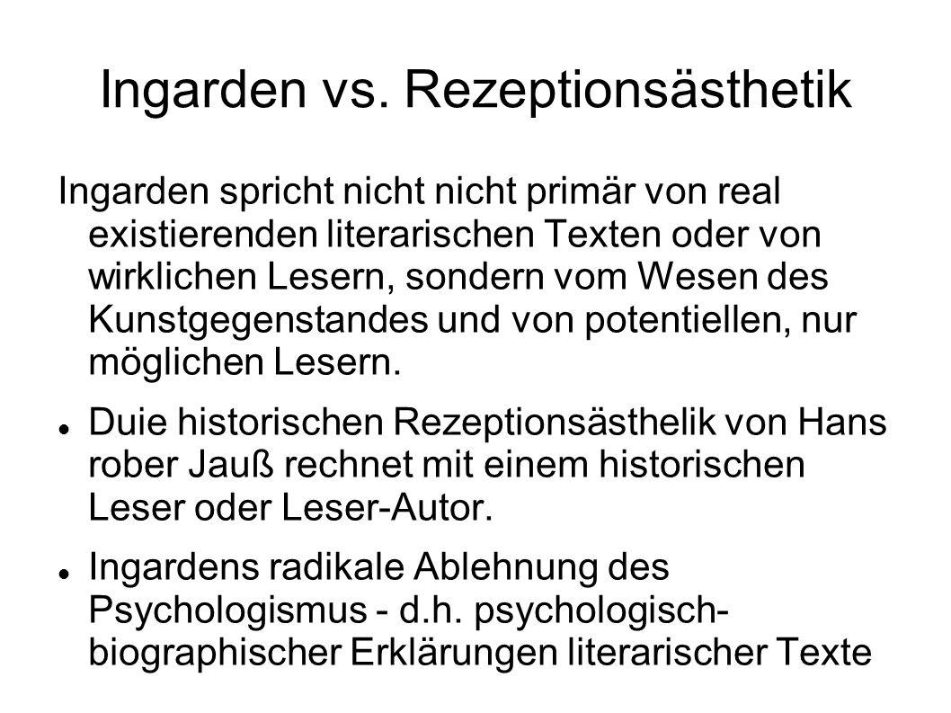 Ingarden vs. Rezeptionsästhetik Ingarden spricht nicht nicht primär von real existierenden literarischen Texten oder von wirklichen Lesern, sondern vo