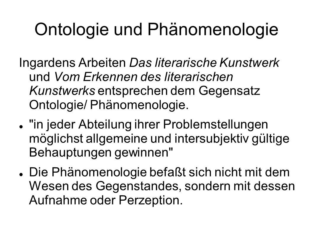Ontologie und Phänomenologie Ingardens Arbeiten Das literarische Kunstwerk und Vom Erkennen des literarischen Kunstwerks entsprechen dem Gegensatz Ont