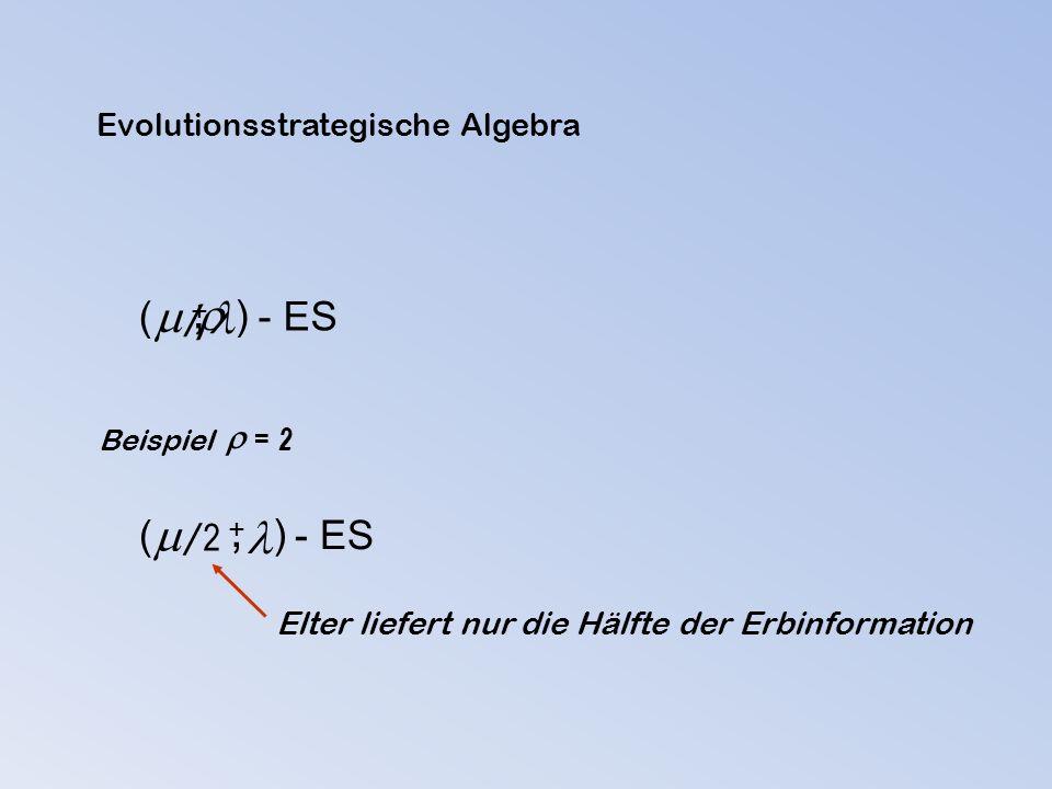 ( ) - ES  +, /  Beispiel  = 2 ( ) - ES  +, / 2 Elter liefert nur die Hälfte der Erbinformation Evolutionsstrategische Algebra