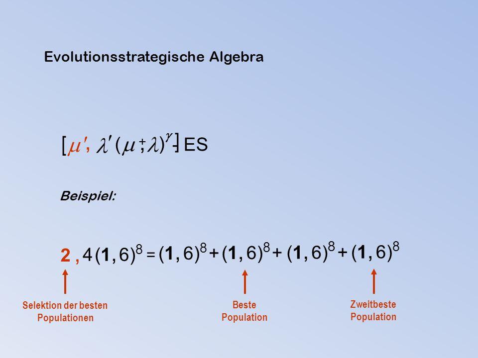  ( ) - ES  +, Beispiel: = (1, 6) 8 + (1, 6) 8 4 (1, 6) 8 2,2, Beste Population Zweitbeste Population Selektion der besten Populationen , Evolutions