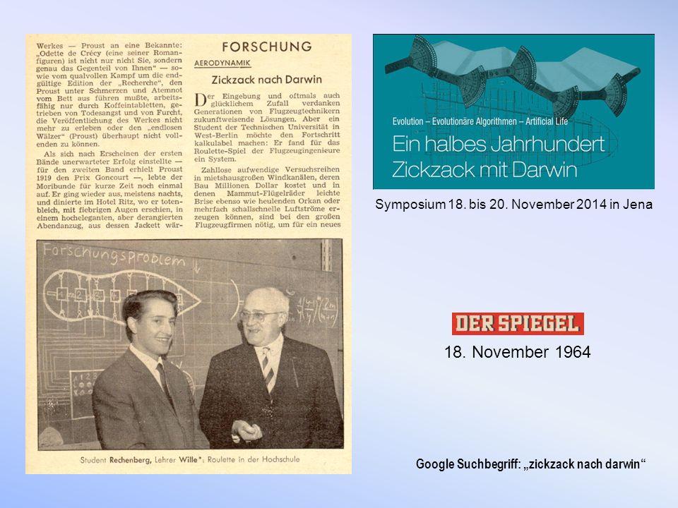 """18. November 1964 Symposium 18. bis 20. November 2014 in Jena Google Suchbegriff: """"zickzack nach darwin"""""""