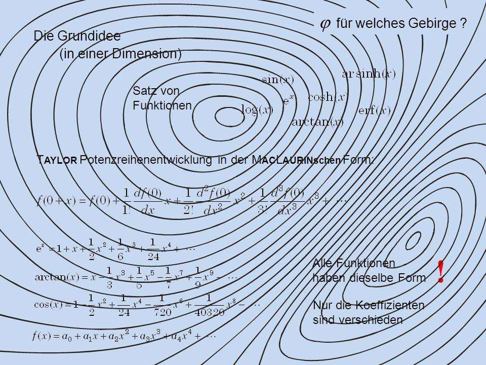 Die Grundidee (in einer Dimension) Satz von Funktionen Alle Funktionen haben dieselbe Form T AYLOR Potenzreihenentwicklung in der M AC L AURINschen Form: .