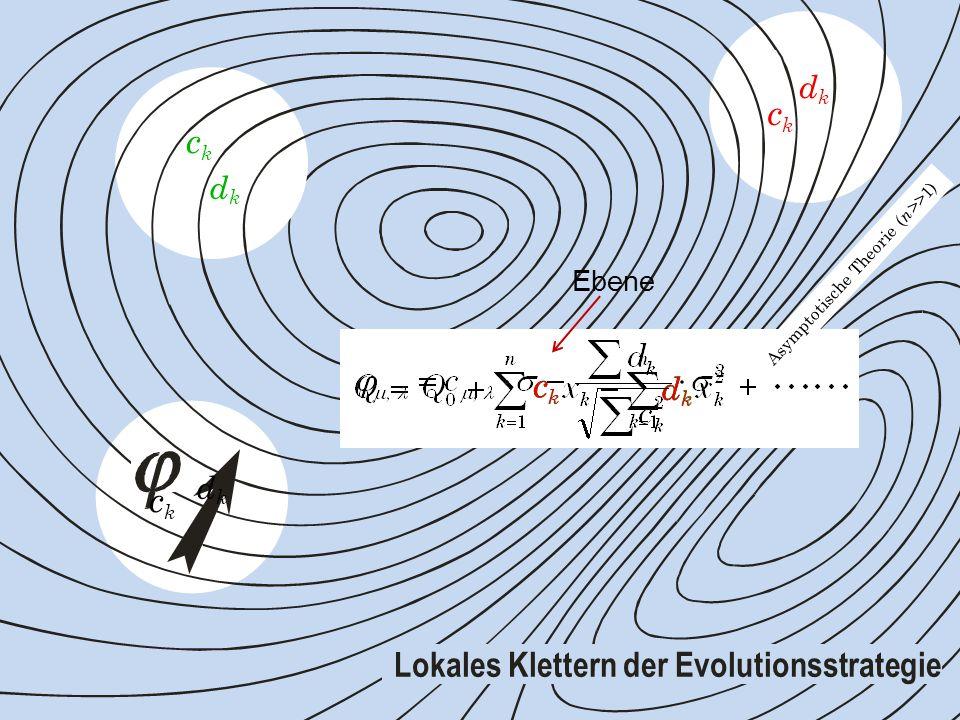 c k d k c k d k c k d k c k c k c k d k Asymptotische Theorie ( n >>1) d k d k Lokales Klettern der Evolutionsstrategie Ebene