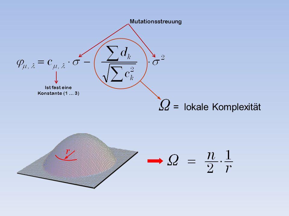 = lokale Komplexität r Ist fast eine Konstante (1 … 3) Mutationsstreuung