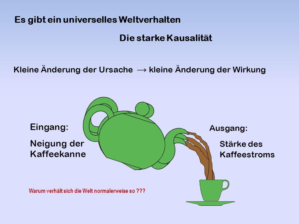 Die starke Kausalität Es gibt ein universelles Weltverhalten Eingang: Neigung der Kaffeekanne Ausgang: Stärke des Kaffeestroms Kleine Änderung der Urs