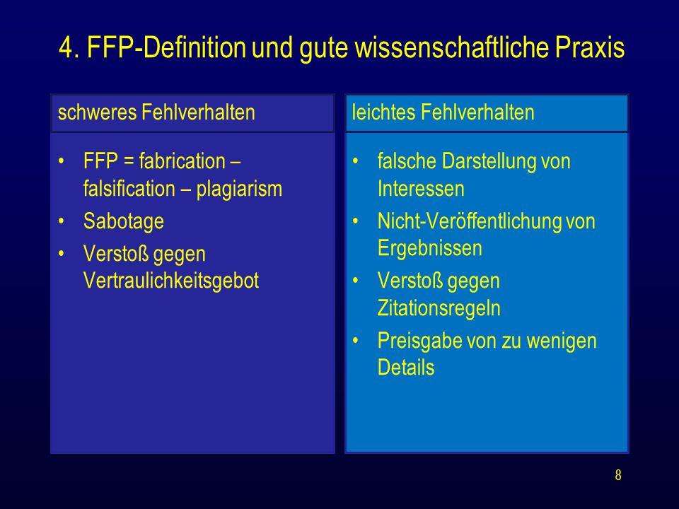 schweres Fehlverhalten FFP = fabrication – falsification – plagiarism Sabotage Verstoß gegen Vertraulichkeitsgebot leichtes Fehlverhalten falsche Dars