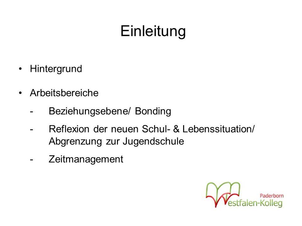 Einleitung Hintergrund Arbeitsbereiche -Beziehungsebene/ Bonding - Reflexion der neuen Schul- & Lebenssituation/ Abgrenzung zur Jugendschule -Zeitmanagement