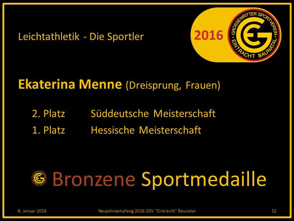 2016 Leichtathletik - Die Sportler Ekaterina Menne Ekaterina Menne (Dreisprung, Frauen) 2.