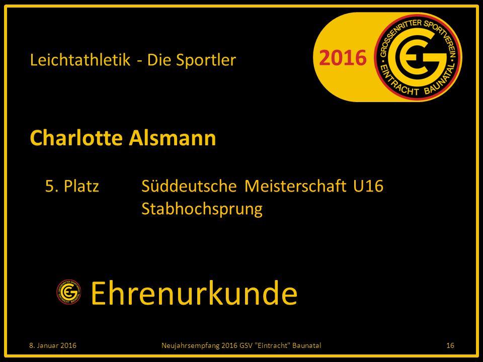 2016 Leichtathletik - Die Sportler Charlotte Alsmann 5.