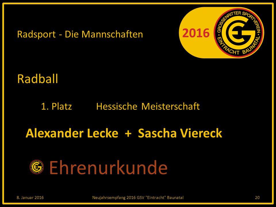 2016 Radsport - Die Mannschaften Radball 1. PlatzHessische Meisterschaft 8.