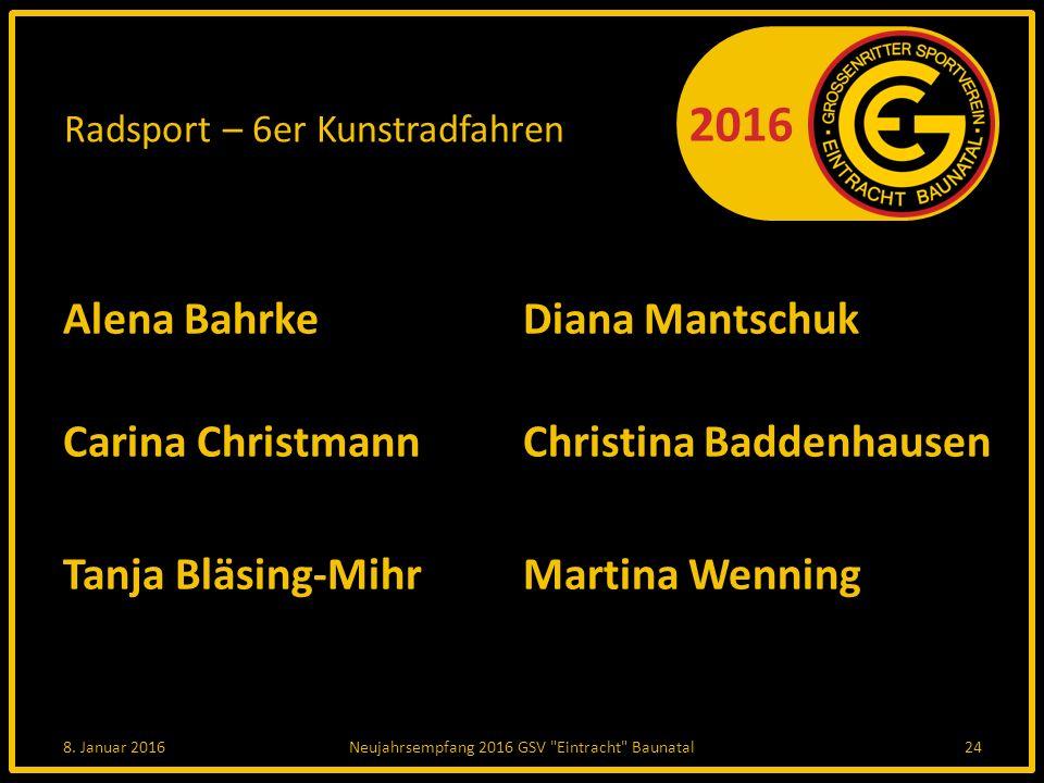 2016 Radsport – 6er Kunstradfahren Alena Bahrke Diana Mantschuk Carina Christmann Christina Baddenhausen Tanja Bläsing-Mihr Martina Wenning 8.