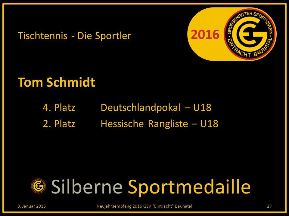 2016 Tischtennis - Die Sportler Tom Schmidt 4. PlatzDeutschlandpokal – U18 2.