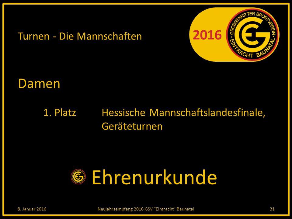 2016 Turnen - Die Mannschaften Damen 1. PlatzHessische Mannschaftslandesfinale, Geräteturnen 8.