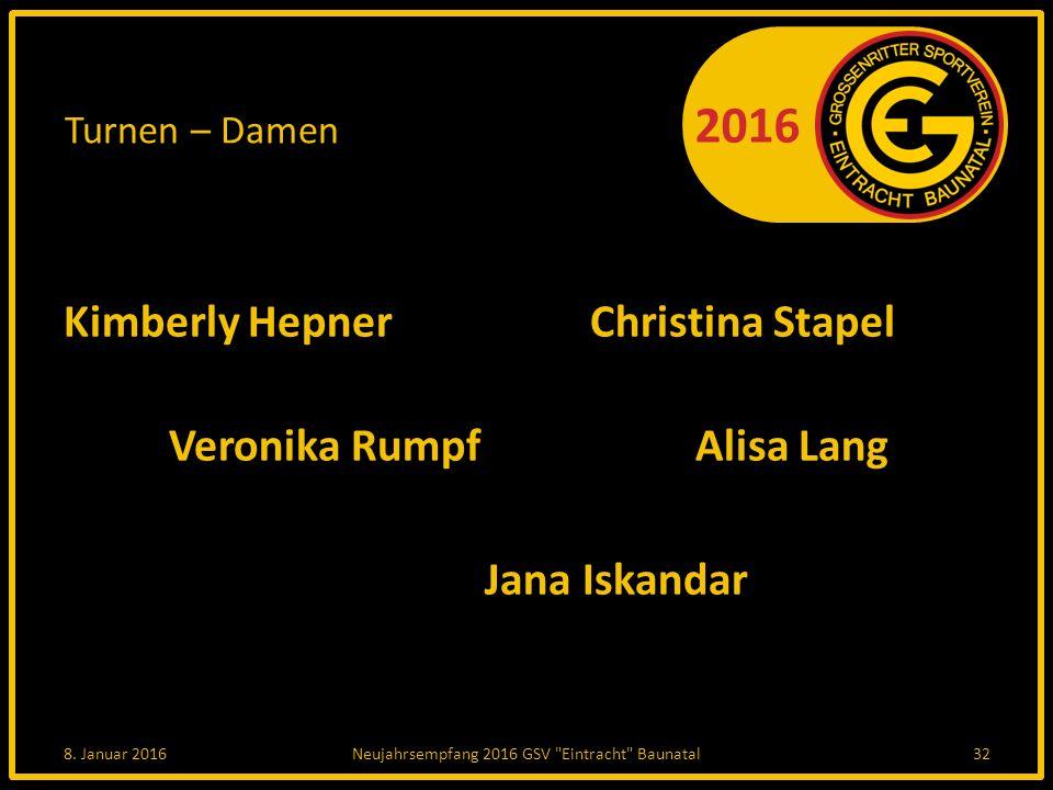 2016 Turnen – Damen Kimberly HepnerChristina Stapel Veronika RumpfAlisa Lang Jana Iskandar 8.