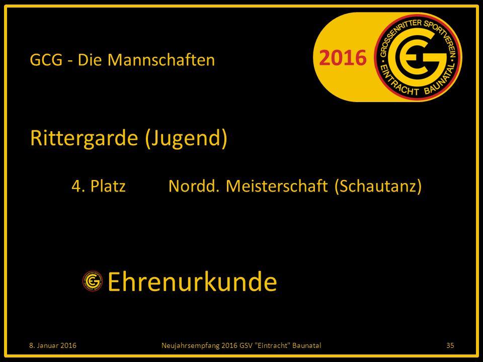 2016 GCG - Die Mannschaften Rittergarde (Jugend) 4.