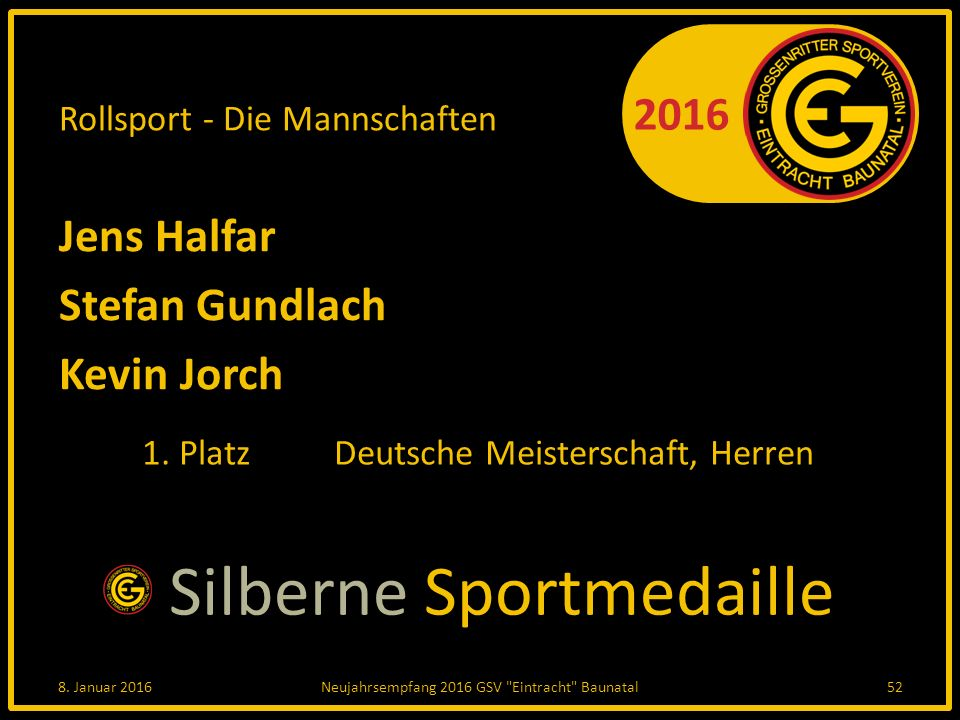 2016 Rollsport - Die Mannschaften Jens Halfar Stefan Gundlach Kevin Jorch 1.