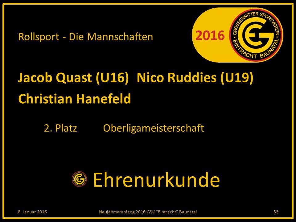 2016 Rollsport - Die Mannschaften Jacob Quast (U16)Nico Ruddies (U19) Christian Hanefeld 2.