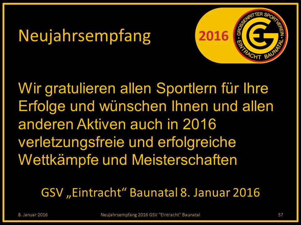 """2016 Neujahrsempfang GSV """"Eintracht Baunatal 8. Januar 2016 8."""