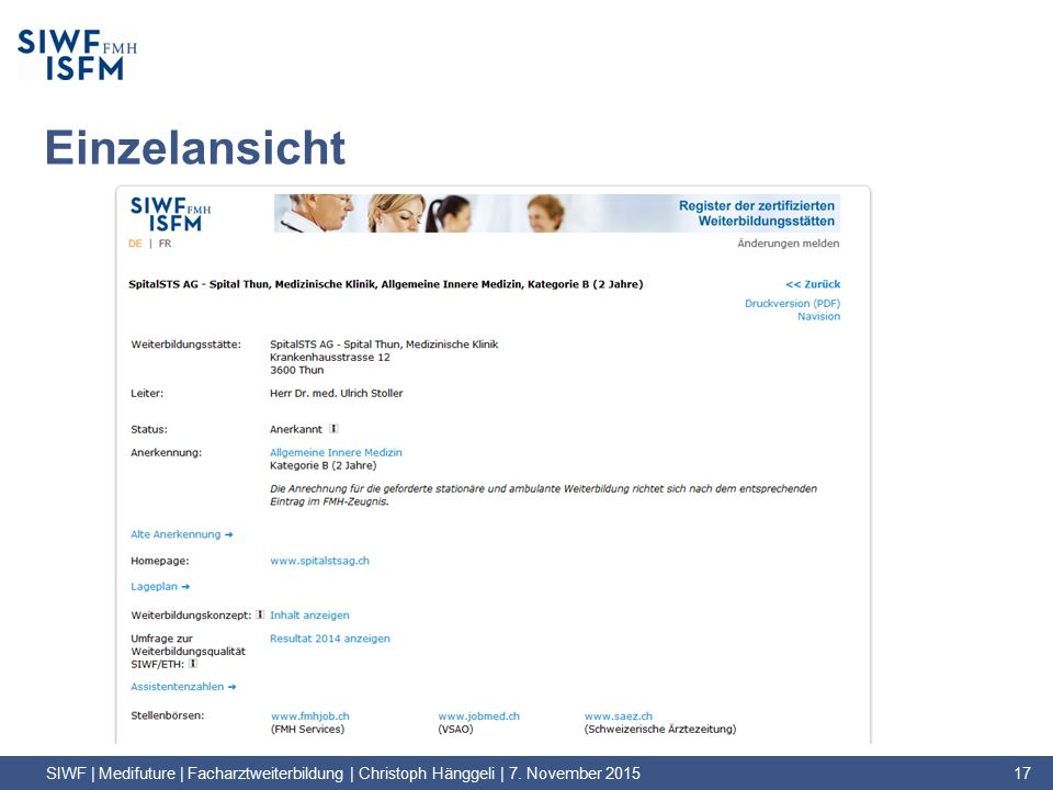 Einzelansicht SIWF | Medifuture | Facharztweiterbildung | Christoph Hänggeli | 7. November 2015 17