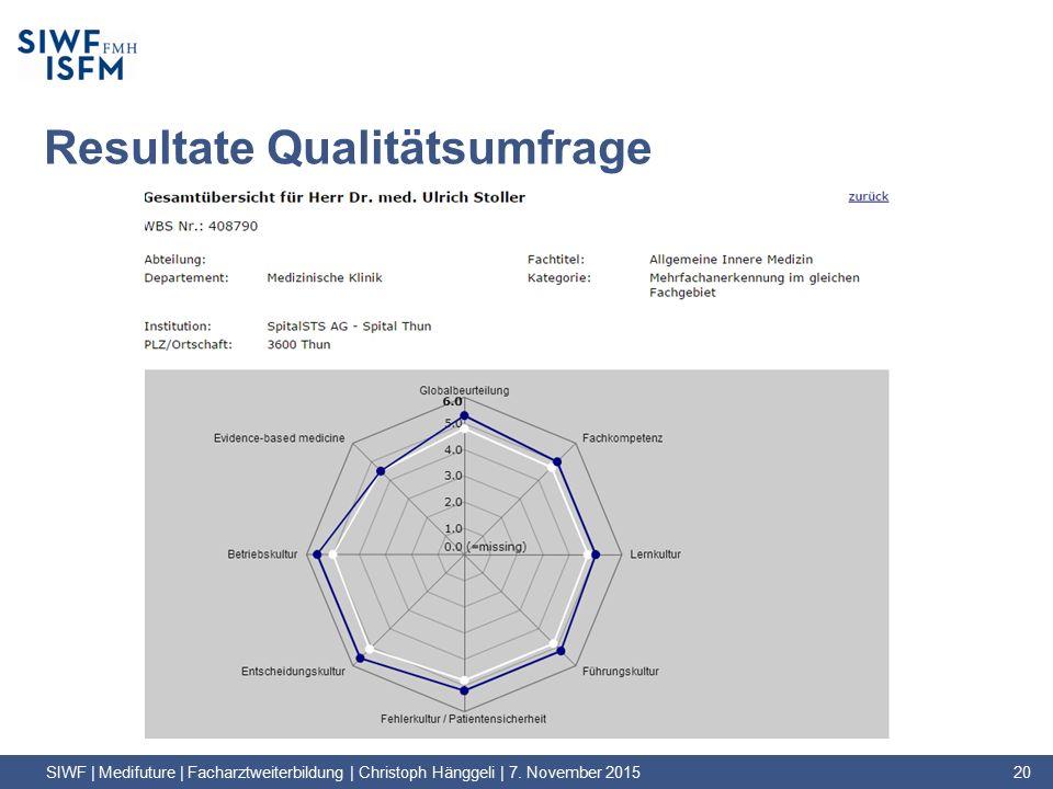 Resultate Qualitätsumfrage SIWF | Medifuture | Facharztweiterbildung | Christoph Hänggeli | 7.