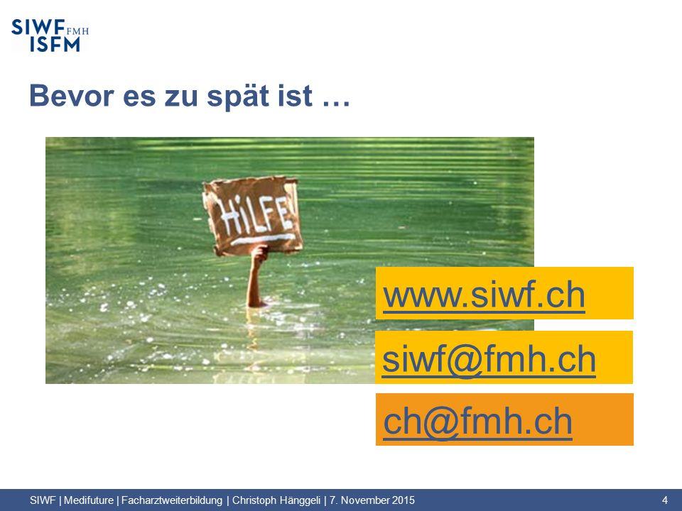 Bevor es zu spät ist … SIWF | Medifuture | Facharztweiterbildung | Christoph Hänggeli | 7.