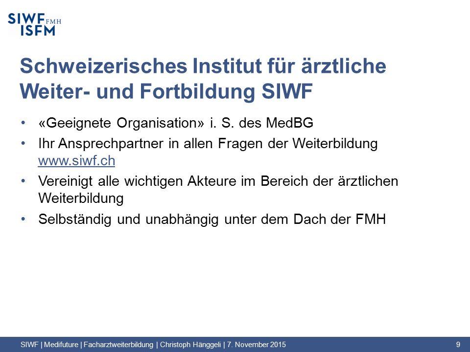 Schweizerisches Institut für ärztliche Weiter- und Fortbildung SIWF «Geeignete Organisation» i.