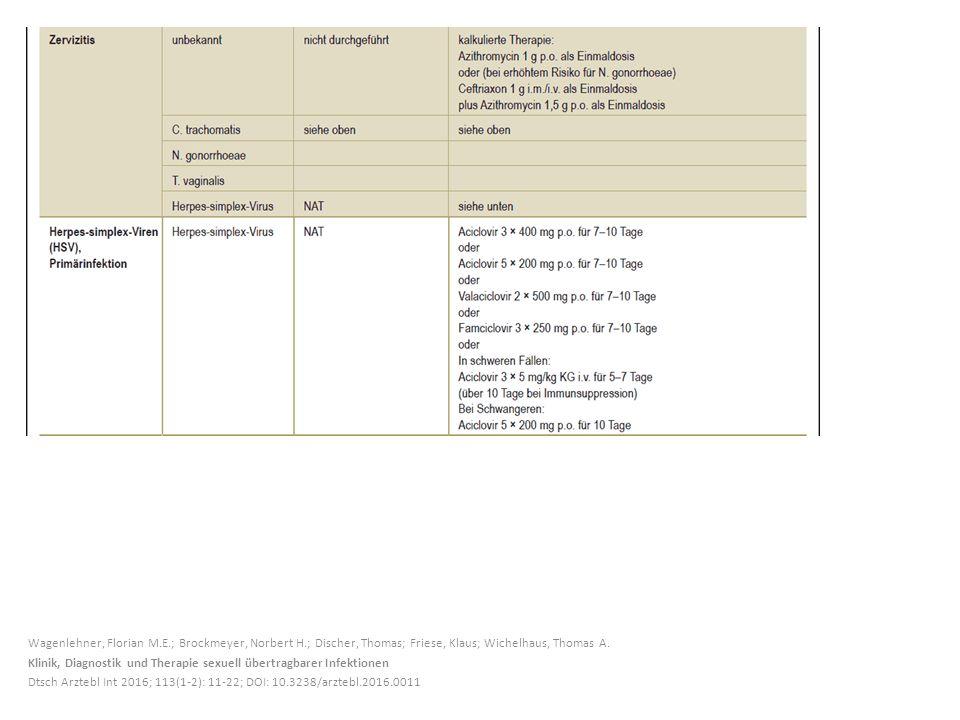 Wagenlehner, Florian M.E.; Brockmeyer, Norbert H.; Discher, Thomas; Friese, Klaus; Wichelhaus, Thomas A. Klinik, Diagnostik und Therapie sexuell übert